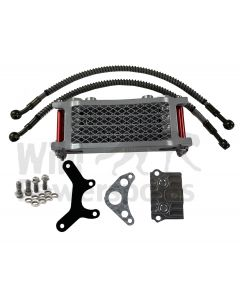 Red/Silver Piranha Complete Oil Cooler Kit & Mount for Honda Crf50 Xr50 Atc70 and clones