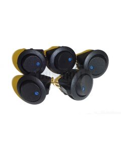 5 Pack of Round Rocker Switches 12V with Blue LED