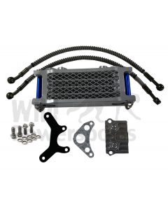 Blue/Silver Piranha Complete Oil Cooler Kit & Mount for Honda Crf50 Xr50 Atc70 and clones