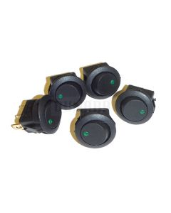 5 Pack of Round Rocker Switches 12V with Green LED