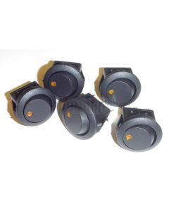5 Pack of Round Rocker Switches 12V with Yellow LED